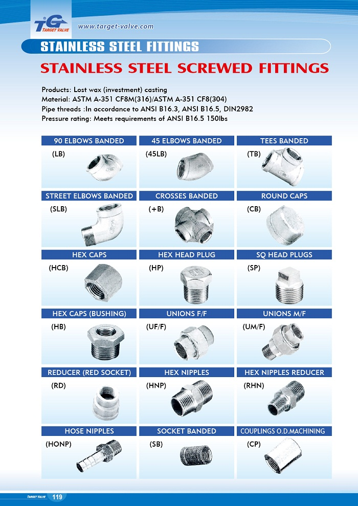 Stainless Steel Screwed Fittings - HCB