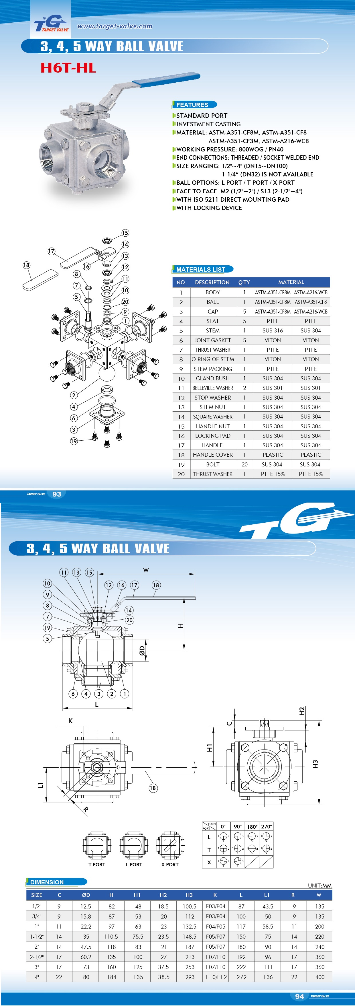 6 PC BALL VALVE - H6T (STANDARD PORT)