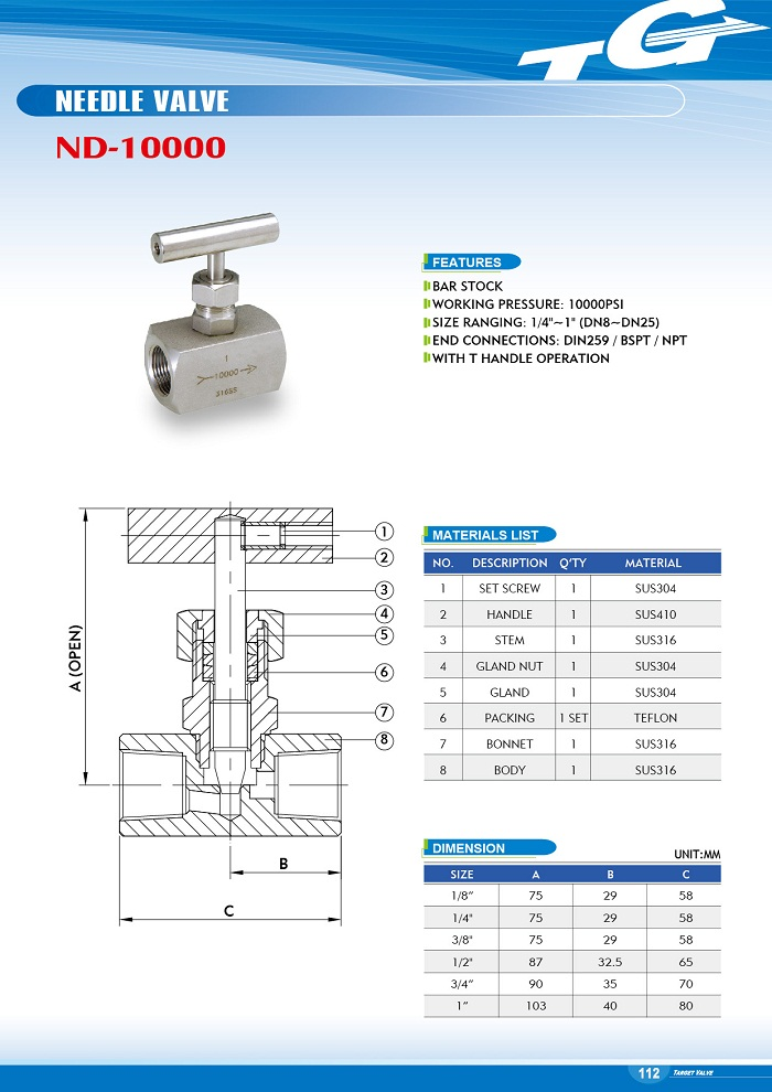 NEEDLE VALVE - ND-10000