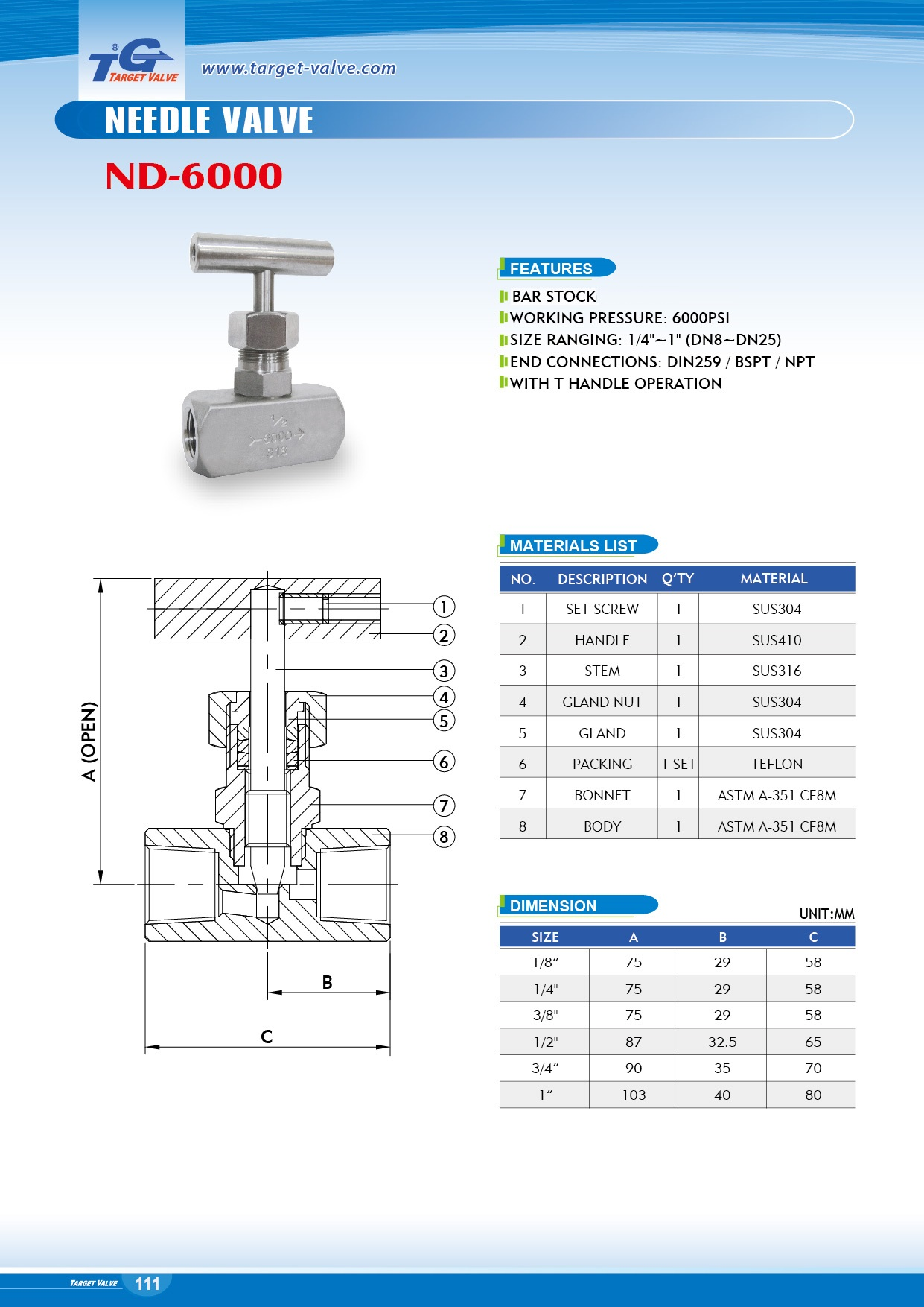 NEEDLE VALVE - ND-6000