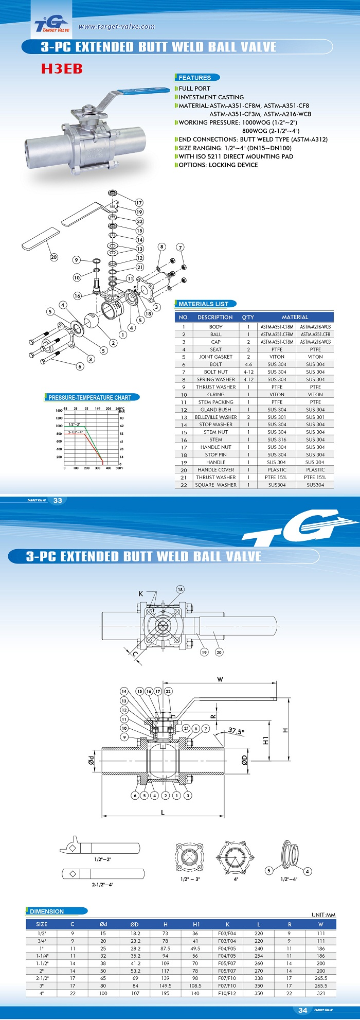 3 PC EXTENDED BUTT WELD BALL VALVE - H3EB