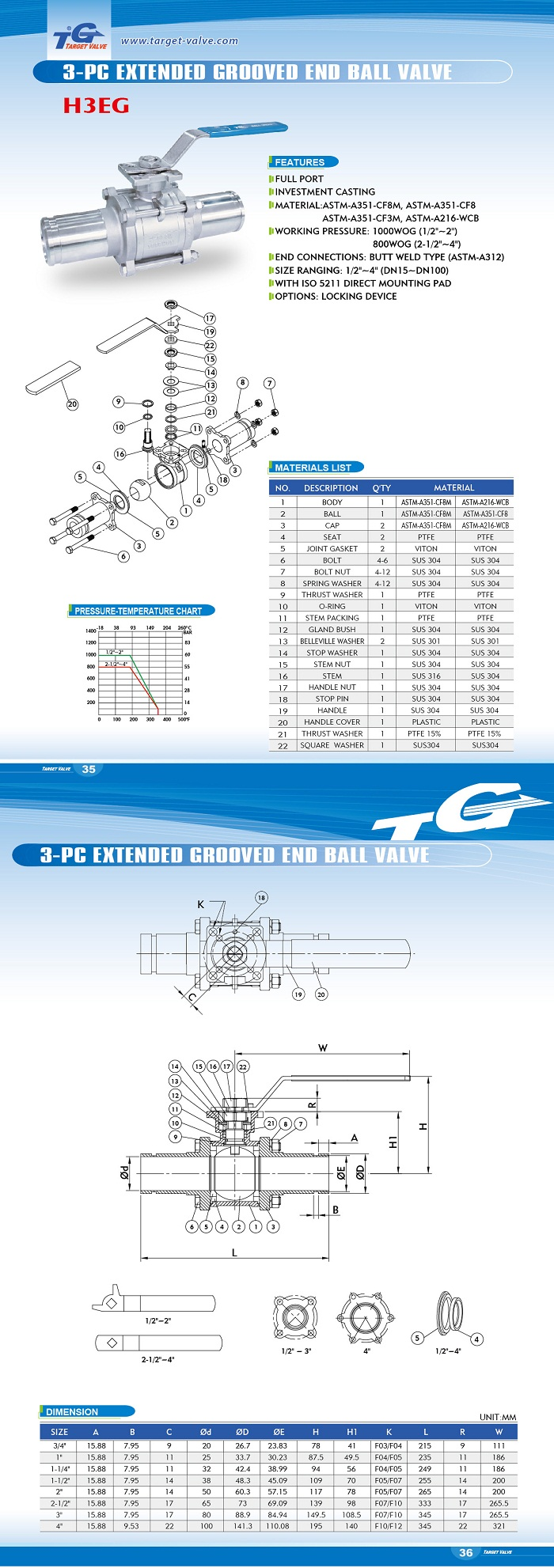 3 PC EXTENDED GROOVED END BALL VALVE - H3EG