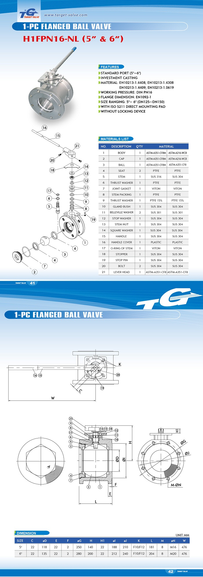1 PC FLANGED BALL VALVE - H1FPN16
