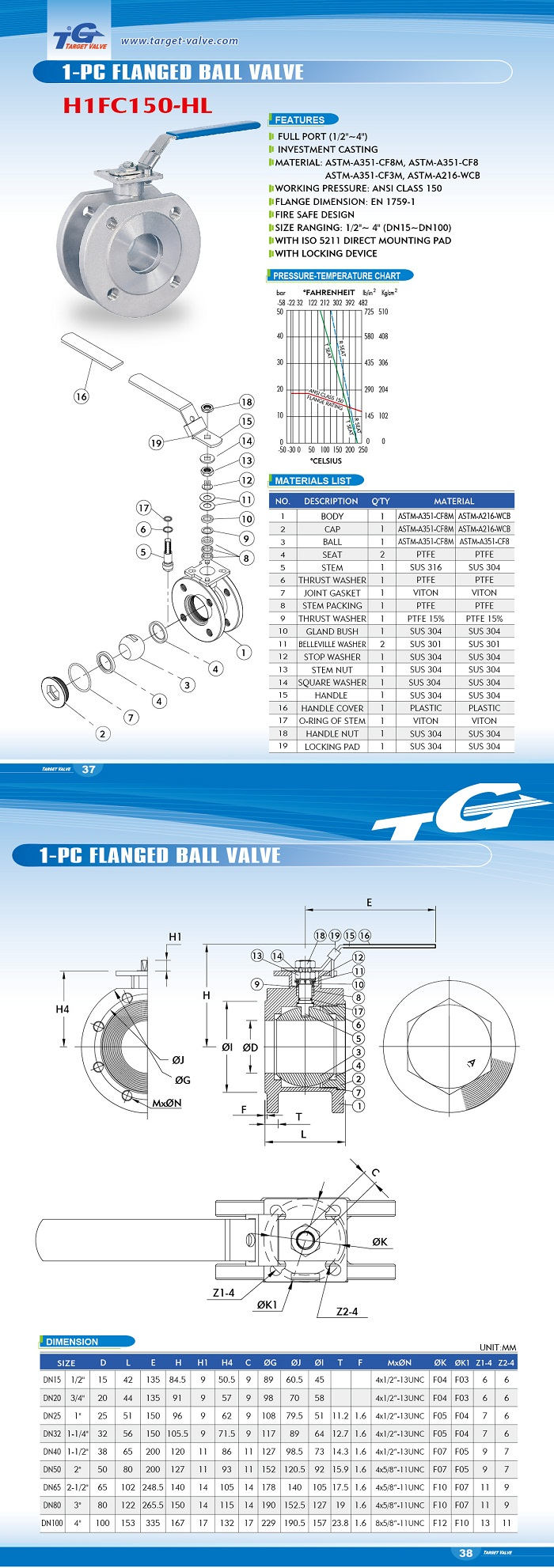 1 PC FLANGED BALL VALVE - H1FC150