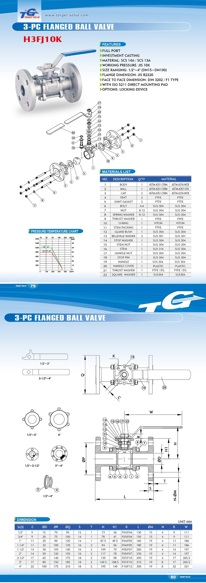 3 PC FLANGED BALL VALVE - H3FJ10K